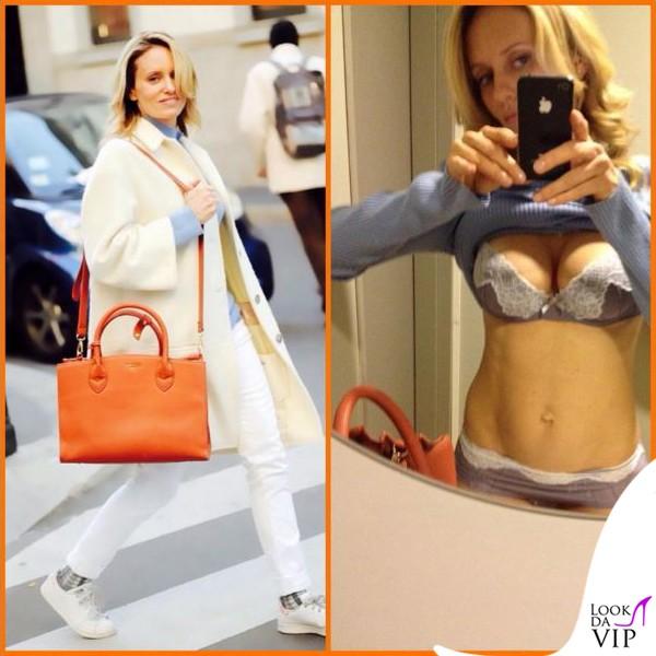 Justine-Mattera-cappotto-Dondup-maglia-Marina-Yachting-jeans-Care-Label-borsa-Pomikaki-scarpe-Adidas-intimo-Verdissima