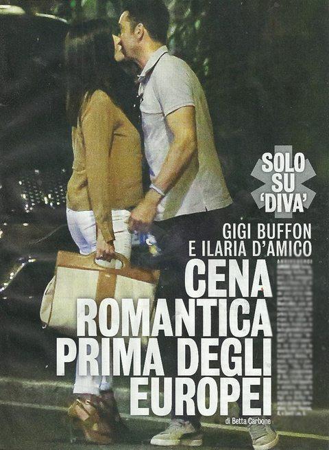 Ilaria D'Amico e Gigi Buffon, cena romantica prima della partenza con la Nazionale