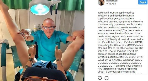 """Naike Rivelli provoca ancora, la visita dal ginecologo sui social: """"Fate i test per l'Hpv"""""""